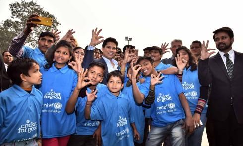 Sachin with Kids